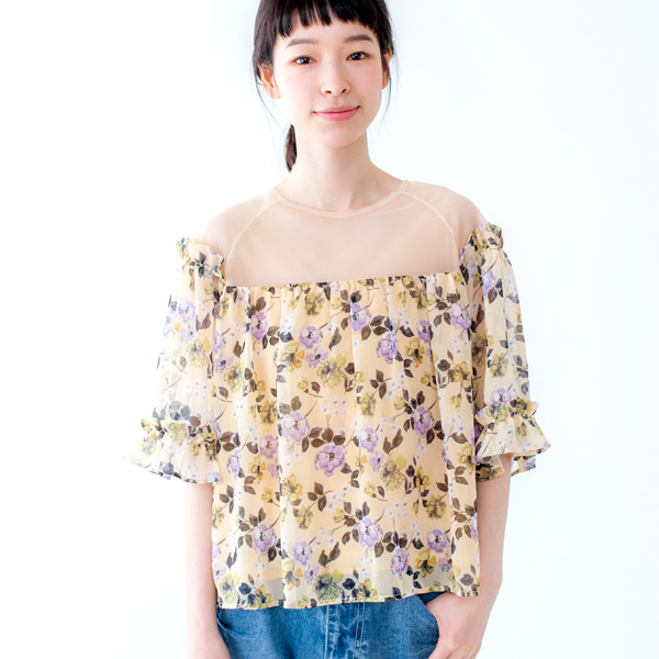 【10%OFF】drawing flower top〜ドローイングフラワートップ